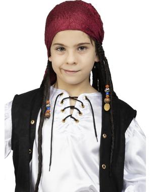 Pirat Kopftuch mit Rastazöpfen für Kinder