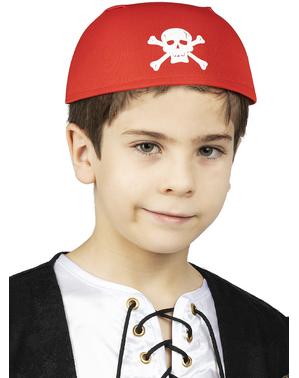 Pirat Kopftuch Tuch rot mit Totenköpfen für Kinder