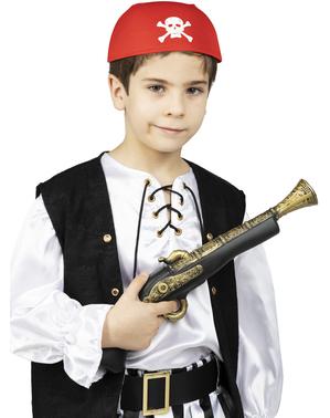 Bandana rossa con teschi per bambini