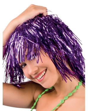 Adult's Festive Shiny Purple Wig
