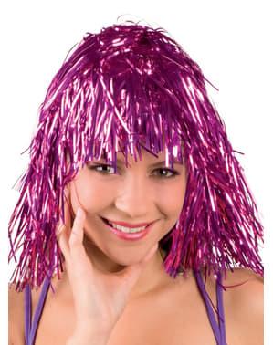 Różowa błyszcząca imprezowa peruka dla dorosłych