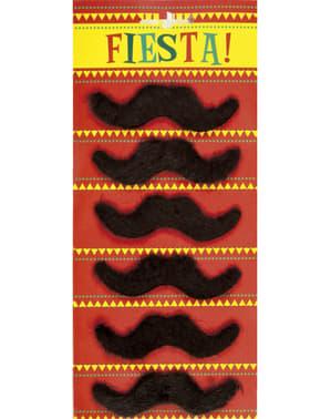 6-teiliges Mexikaner Schnurrbärte Set zum Ankleben für Erwachsene