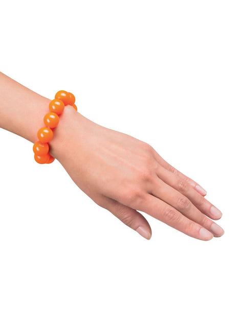 Pulsera naranja de perlas para mujer - para tu disfraz