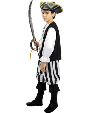 Fato de pirata às riscas para menino - Coleção branca e preta