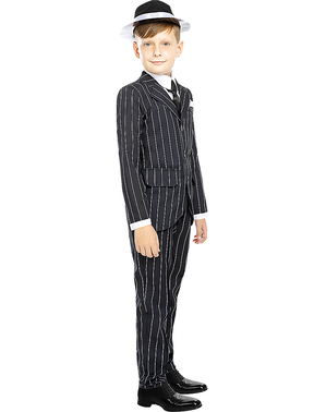 1920s Gangster Costume in Black for Kids