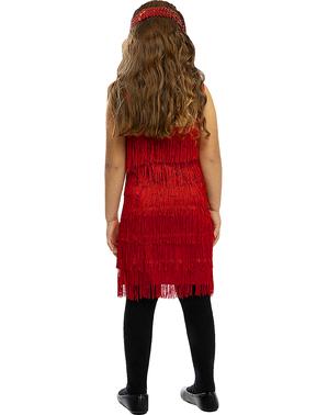 Rød Flapper Kostyme til Jenter