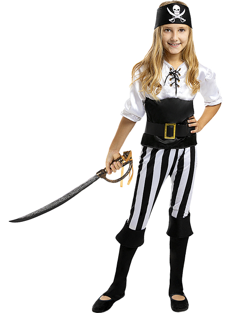 Striped Pirate Costume for Girls - Black and White Collection