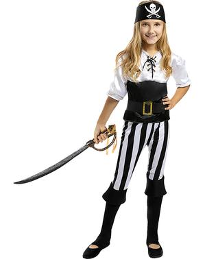 Fato de pirata às riscas para menina - Coleção branca e preta