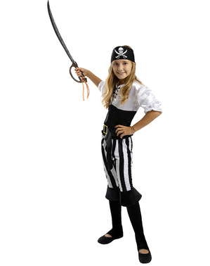 Piraten Kostüm gestreift für Mädchen - Schwarz und Weiß Kollektion
