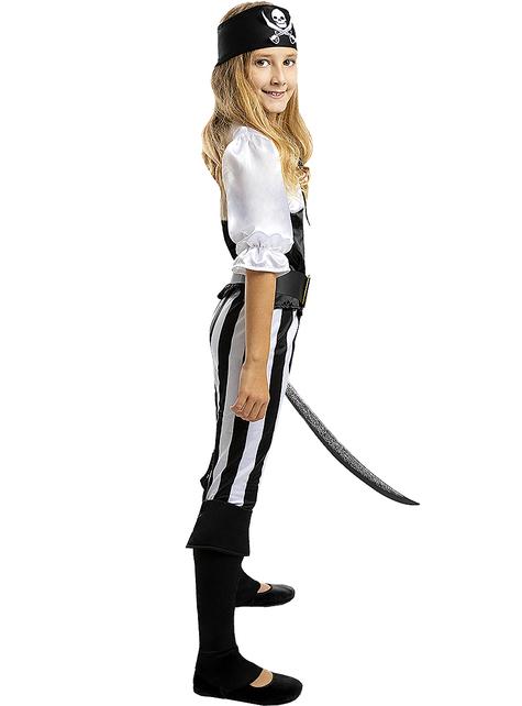 Déguisement pirate à rayures fille - Collection Blanc et Noir