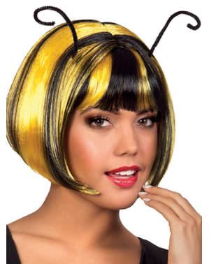Peruca de abelha com antenas para mulher