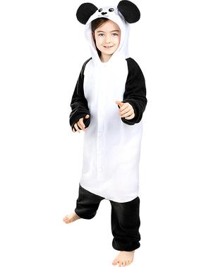 Fato de urso panda onesie para menino