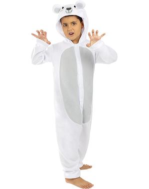Fato de urso polar onesie para menino