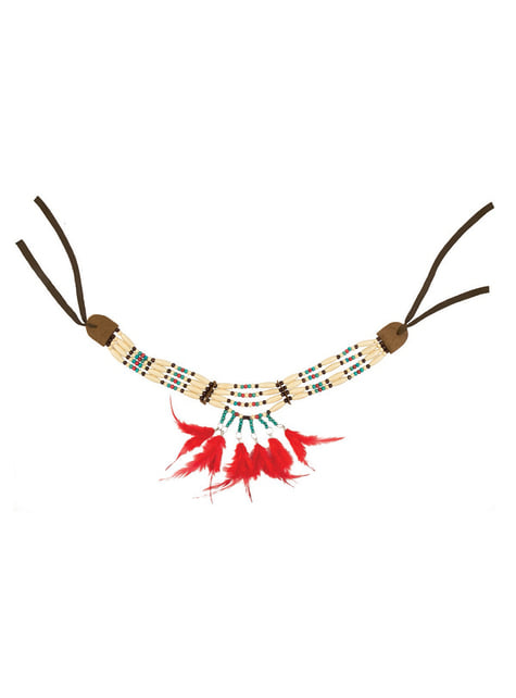 Collar de indio con plumas para adulto - original