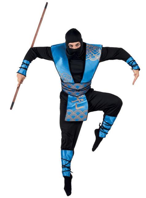 Disfraz de ninja azul para hombre