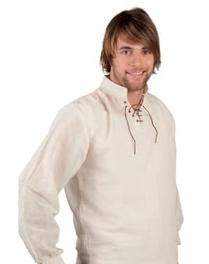 Camicia da contadino medievale bianca per uomo