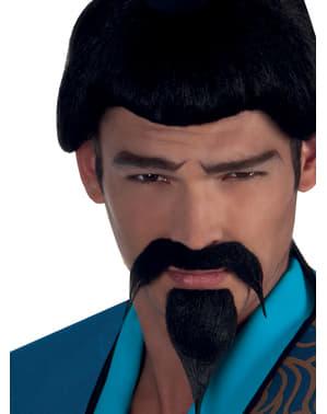 Mustasch och bockskägg Samurai för vuxen