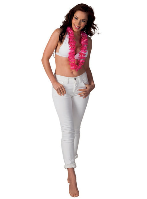 Collar hawaiano rosa para adulto - para tu disfraz
