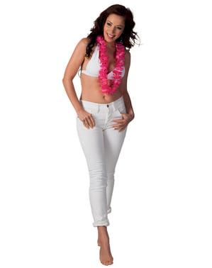 Colar havaiano cor-de-rosa para adulto