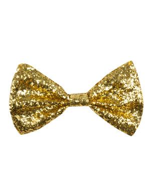 Gouden glitter vlinderstrik