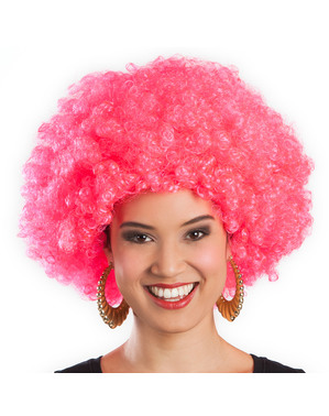 Peruca afro cor-de-rosa unissex