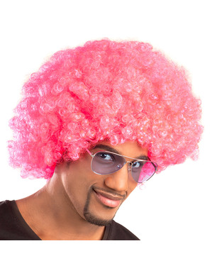 Unisex pink Afro wig
