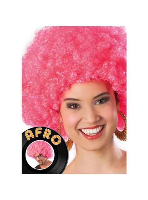 Peluca afro rosa unisex