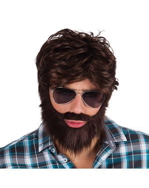 Kit de peruca e barba festeira para homem