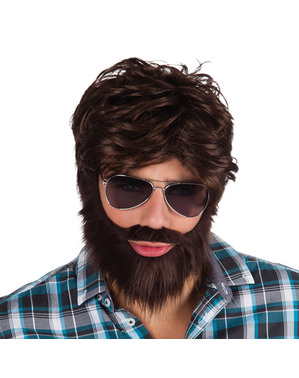Perruque et barbe fêtard homme