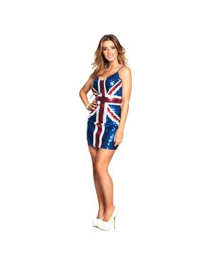 Vestido de bandeira RU brilhante para mulher