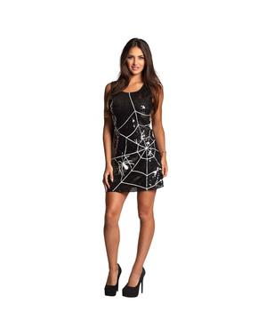 Vestido de teia de aranha com lantejoulas para mulher