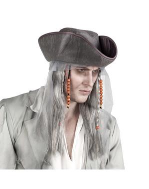 Spookpiratenpruik met hoed voor volwassenen