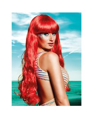 Czerwona peruka Syrena dla kobiet