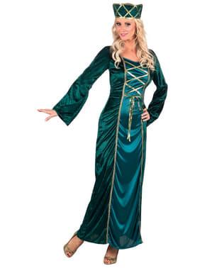 Königin Kostüm grün-grau für Damen