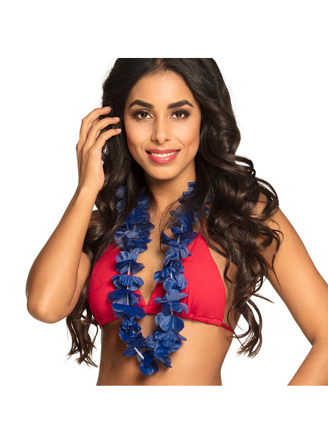 Collar hawaiano azul para adulto