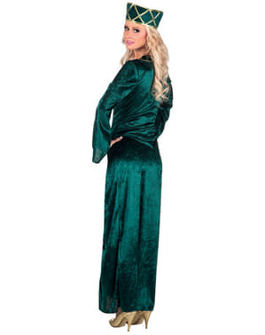 Déguisement reine médiévale vert femme