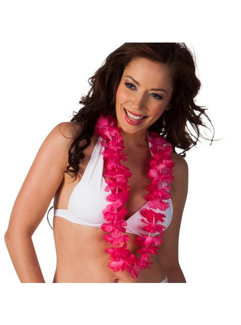 Collar hawaiano rosa para adulto