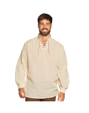 Hvid middelaldersk landmandsskjorte til mænd