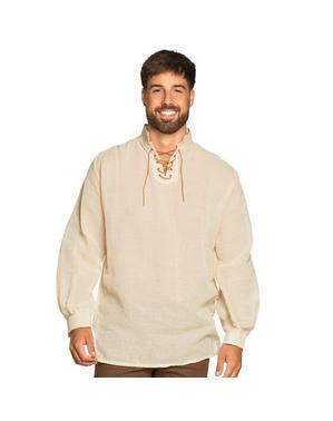 Hvit Middelaldersk Bonde Skjorte Mann
