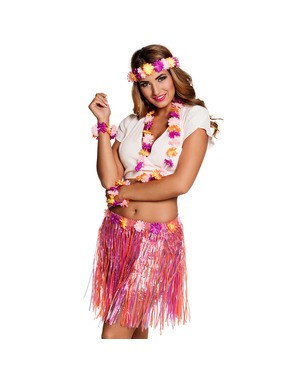 Hawaiiaanse set fuchsia voor vrouw