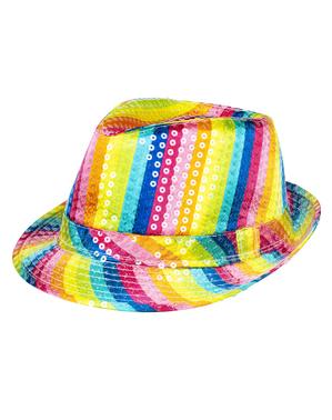 Tęczowy kapelusz z cekinami dla dorosłych