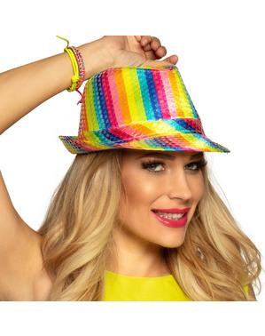 Regenboog hoed met lovertjes voor volwassenen