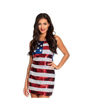 Třpytivé dámské šaty vlajka USA