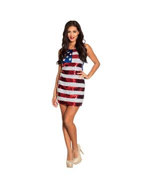 Robe drapeau des USA à sequins femme