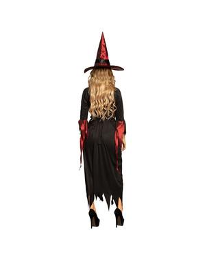 Costum de vrăjitoare negru cu grena pentru femeie