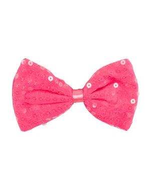 Laço cor-de-rosa com lantejoulas para adulto