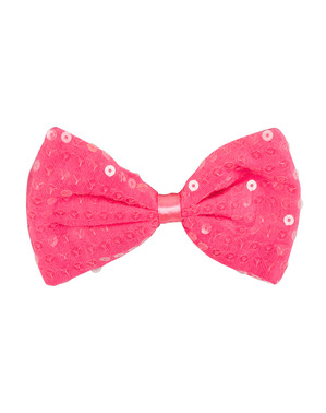 Pink sequin bow tie for adults