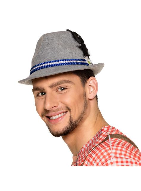 Sombrero de bávaro azul con pluma y edelweiss