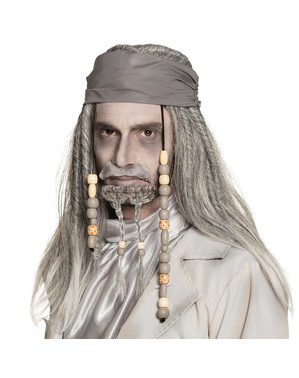 Grey ghost pirate wig for adults