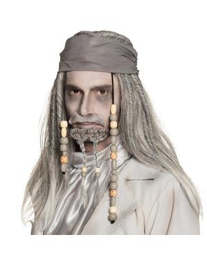 Parrucca da pirata fantasma grigia per adulto